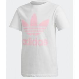 Camiseta Adidas J Trefoil tee blanco y rosa junior