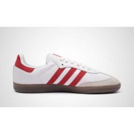 Zapatillas Adidas Samba OG blanco y rojo hombre