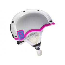 Casco esquí Salomon Jr blanco rosa junior