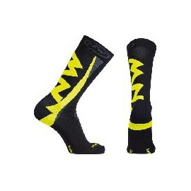 Calcetines altos Northwave Extreme Wiinter negro-amarillo fl