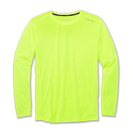 Camiseta running Brooks Distance Nightlife amarilla hombre
