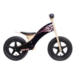 "Bici aprendizaje Rebel Kidz Wood Air madera 12"" llamas negra"