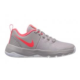 Zapatillas baloncesto Nike Team Hustle quick gris/rosa niña