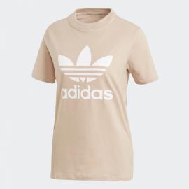 Camiseta Adidas Trefoil tee beige mujer