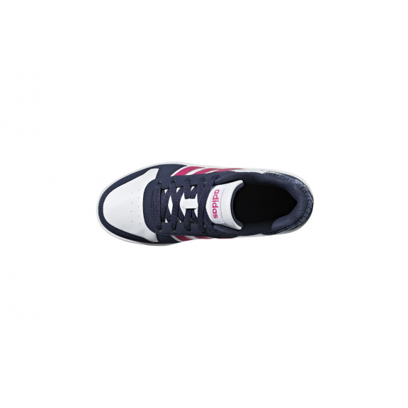 a3e59db3c Zapatillas Adidas Hoops 2.0 K blanco fucsia junior - Deportes Moya