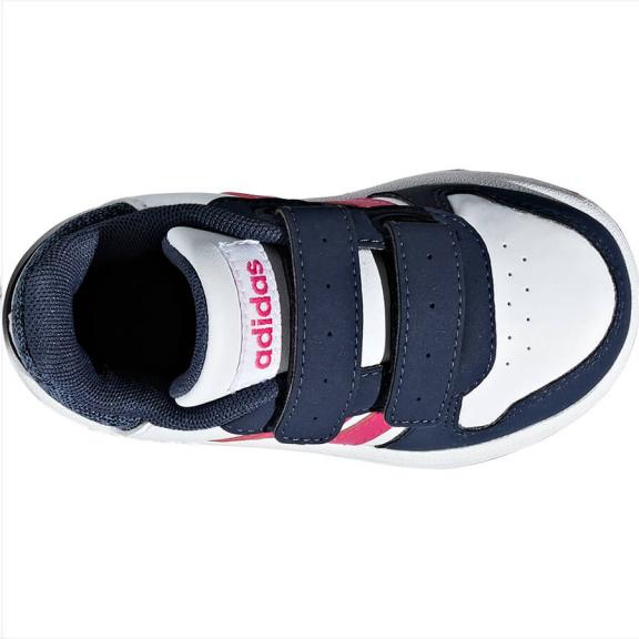 a21f363752f87 Zapatillas Adidas Hoops 2.0 CMF I blanco fucsia bebé - Deportes Moya