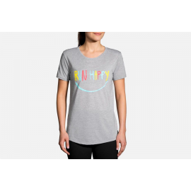 Camiseta Brooks Distance Sleeve gris mujer