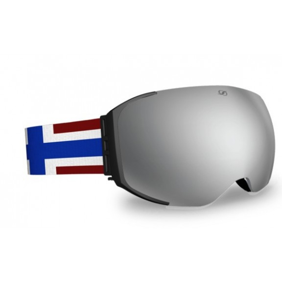 Mascara Hysteresis Freeride negro lente plata cinta bandera