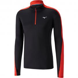 Camiseta running Mizuno Vortex Warmalite negro/rojo hombre
