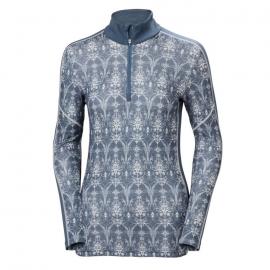 Camiseta Mujer Helly Hansen Lifa Merino Graphic 1/2 zip azul