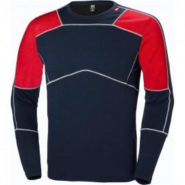 Camiseta termica Helly Hanse Merino Crew marino-rojo hombre