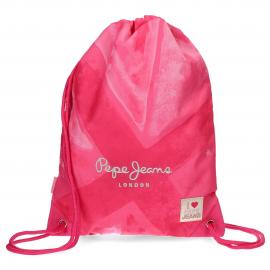 Mochila saco Pepe Jeans Clea c/bolsilo rosa
