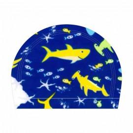 Gorro natación Ras elastán estampado tiburones junior