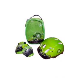 Set patinaje KRF Mochila + protecciones + casco verde