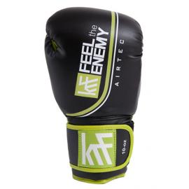 Guantes boxeo KRF Airtec doble velcro negro/verde 12oz