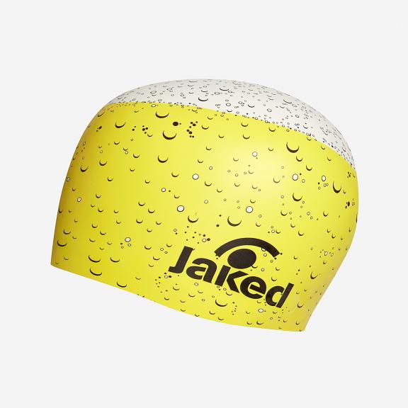 b24eeb135 Gorro natación Jaked Beer amarillo y blanco - Deportes Moya