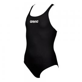 Bañador Arena Solid swim pro negro/blanco niña