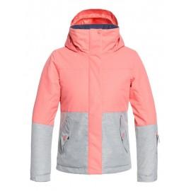 Chaqueta para nieve Roxy Jetty Girl Block rosa gris niña