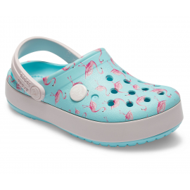 Zuecos Crocs Crocband Multigraphic K azul flamencos niña