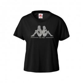 Camiseta Kappa Yerri Authentic negra/rosa mujer