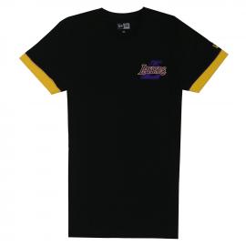 Camiseta New Era NBA Stripe Piping Lakers negra hombre