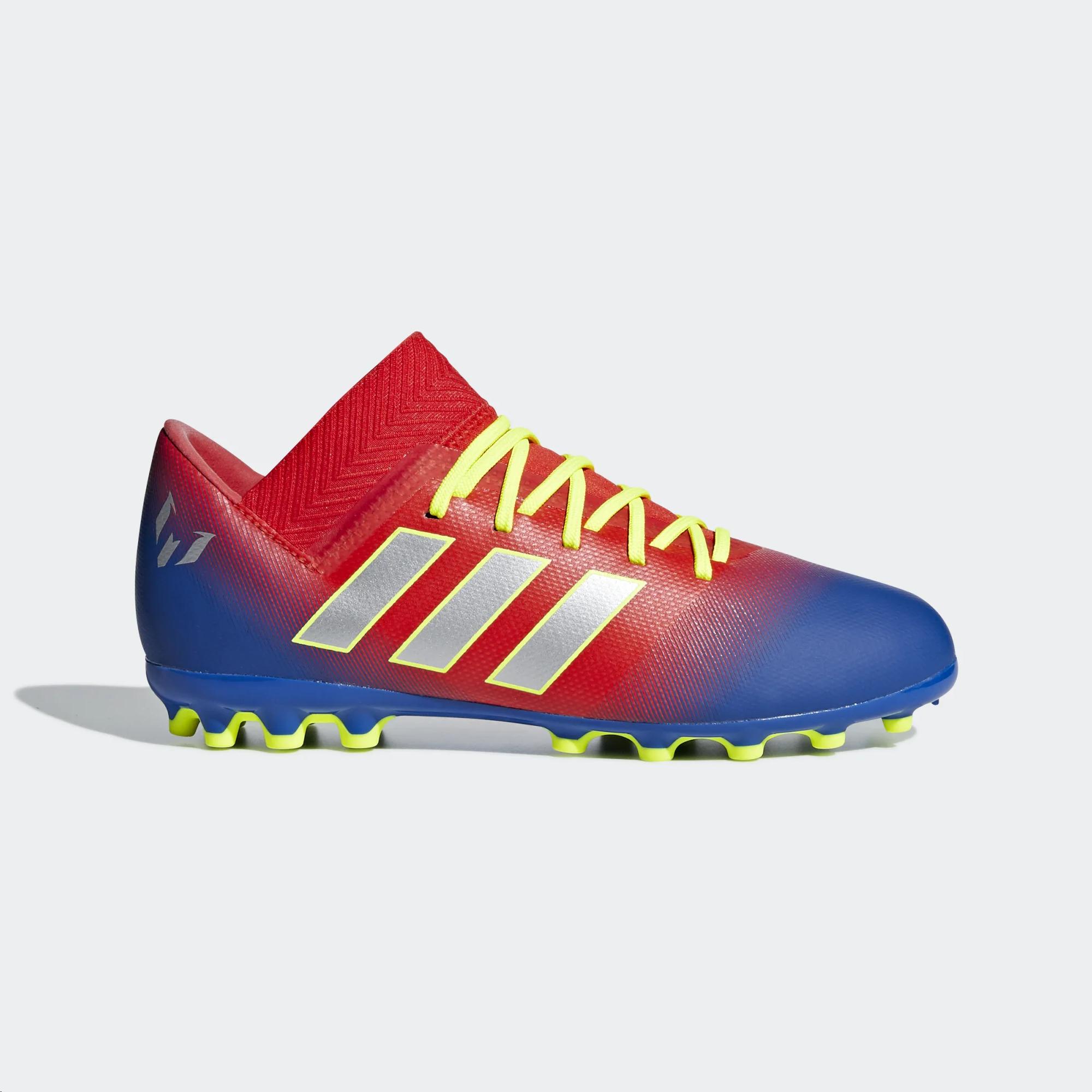 Zapatillas fútbol adidas Nemeziz Messi 18.3 AG rojoazul jr
