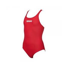 Bañador Arena Solid swim pro rojo/blanco niña
