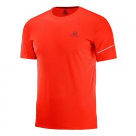 Camiseta trail running Salomon Agile Ss Tee roja hombre