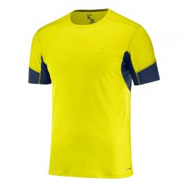 Camiseta trail running Salomon Agile Ss Tee verde flu hombre