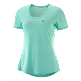 Camiseta trail running Salomon Agile Ss Tee verde mujer