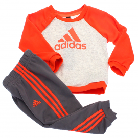 Chándal adidas Logo Jogg FT rojo/gris bebé
