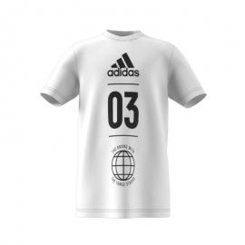 Camiseta adidas YB SID blanca/negra niño