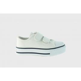 Zapatillas Victoria Tribu lona velcro blanca niñ@