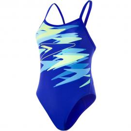 Bañador Speedo Boom Placement Thinstrap azul/amarillo mujer