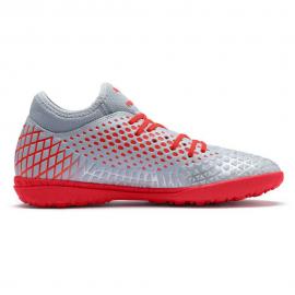 Zapatillas fútbol Puma Future 4.4 TT gris/rojo niño