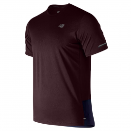 Camiseta running New Balance NB Ice 2.0 SS burdeos hombre