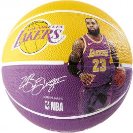 Balón baloncesto Spalding NBA Lebron James morado/amarillo