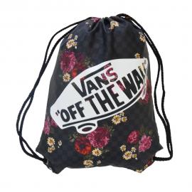 Mochila saco Vans Benched bag negra/flores