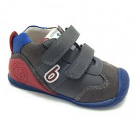 Zapatillas Biomecanics 191166 gris/azul/rojo bebé