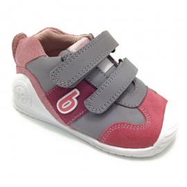 Zapatillas Biomecanics 191166 gris/rosa bebé