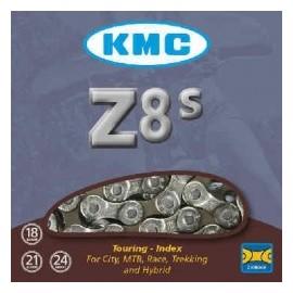 Cadena Kmc Z8S cromada/gris 116 eslabones para shimano/IG 7/