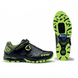 Zapatilla Northwave Spider Plus 2 negro-amarillo Mtb-AM