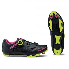 Zapatillas Northwave Razer negro-fucsia-amarillo mujer