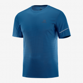 Camiseta trail running Salomon Agile Ss  azul oscuro hombre
