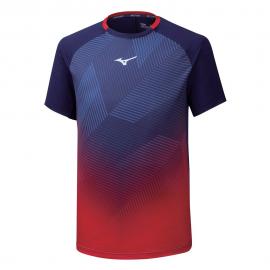 Camiseta tenis/pádel Mizuno Shadow Graphic azul/rojo hombre