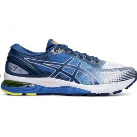 Zapatillas running Asics Gel-Nimbus 21 blanco/azul hombre