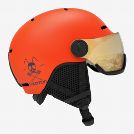 Casco esquí Salomon Grom Visor naranja junior