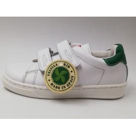 Zapatillas Velilla Velvet velcro blanco/verde junior