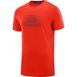 Camiseta outdoor Salomon Blend logo naranja hombre