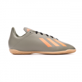 Zapatillas fútbol sala adidas X19.4 IN verde/naranja junior